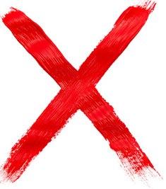 Ernährungsfehler vermeiden - rotes X